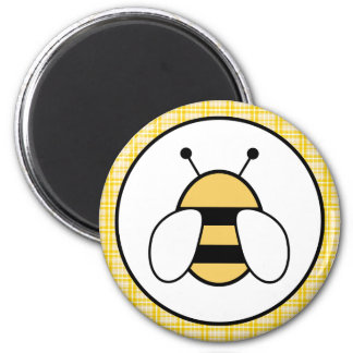 Bubble Bee with Plaid Background 2 Inch Round Magnet