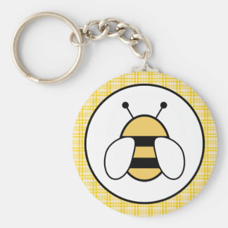 Bubble Bee with Plaid Background Basic Round Button Keychain