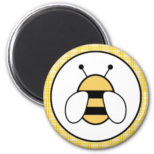 Bubble Bee with Plaid Background Fridge Magnet