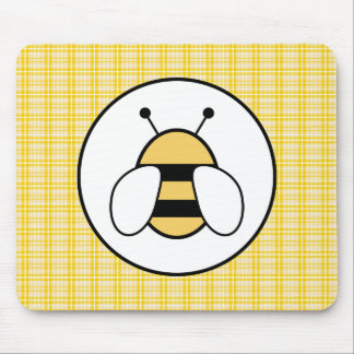 Bubble Bee with Plaid Background Mouse Pad