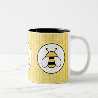 Bubble Bee with Plaid Background Two-Tone Coffee Mug