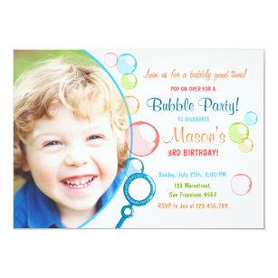 Bubble party invitations announcements zazzle bubble birthday party invitation pop birthday boy filmwisefo