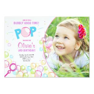 Bubble party invitations announcements zazzle bubble birthday party invitation pop birthday girl filmwisefo