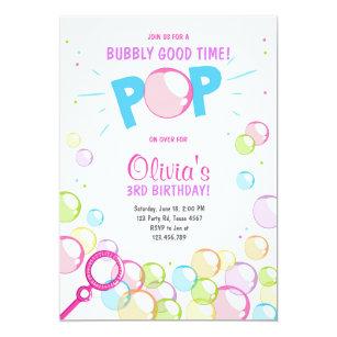 Bubbles birthday invitations zazzle bubble birthday party invitation pop birthday girl filmwisefo