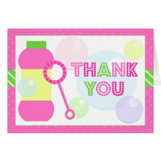 Bubble Birthday Party Thank You Greeting Cards