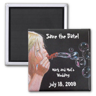 BUBBLE BLOWER SAVE THE DATE REFRIGERATOR MAGNET