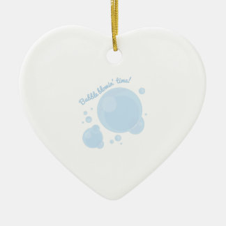 Bubble Blowin Time! Double-Sided Heart Ceramic Christmas Ornament