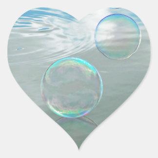 Bubble, Blue Heart Sticker