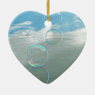 Bubble, Blue Double-Sided Heart Ceramic Christmas Ornament