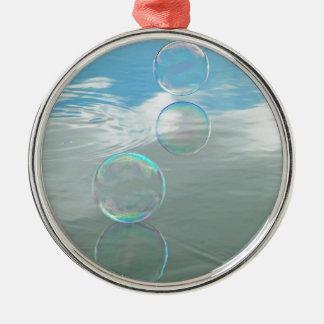 Bubble, Blue Round Metal Christmas Ornament