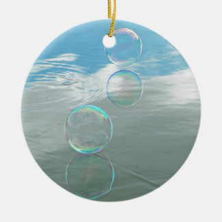 Bubble, Blue Double-Sided Ceramic Round Christmas Ornament