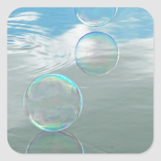 Bubble, Blue Square Sticker