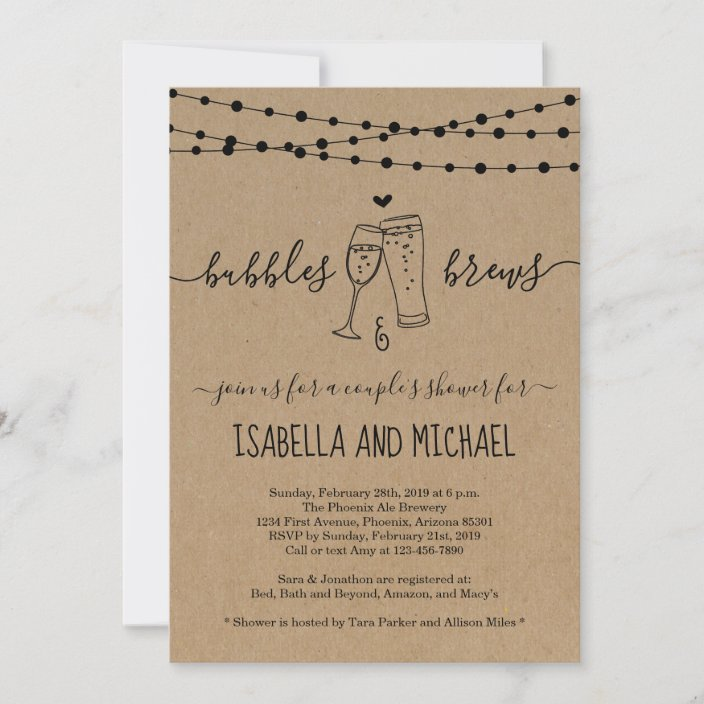 Bubbles /& Bourbon Before Baby couples GIRL shower invitation PRINTED or PRINTABLE