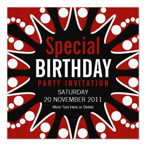 Bubble Burst Red White & Black Birthday Invitation