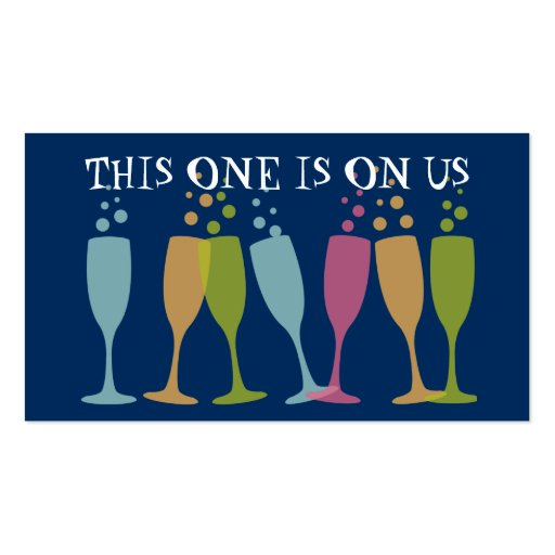 Bubble champagne dancing glass event drink ticket business cards