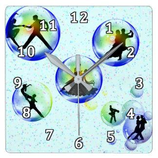 Bubble Dancers Square Wall Clock