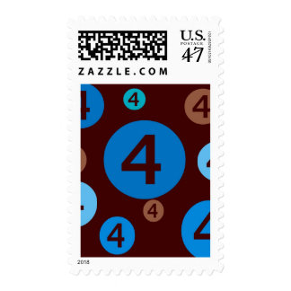 Bubble Dots Blue andBrown 4 Year Old Postage Stamp
