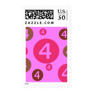 Bubble Dots Pink and Brown  Year Old Postage Stamp
