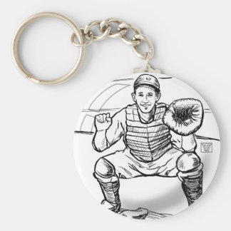 Bubble Dreams Baseball Player Art Keychain