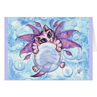Bubble Fairy Kitten Fantasy Cat Art Greeting Card