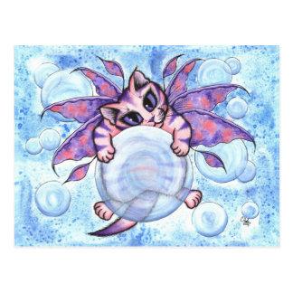 Bubble Fairy Kitten Fantasy Cat Art Postcard