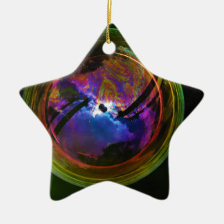 Bubble floating on Black background Double-Sided Star Ceramic Christmas Ornament