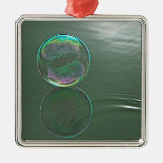 Bubble floating on water square metal christmas ornament