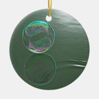 Bubble floating on water Double-Sided ceramic round christmas ornament