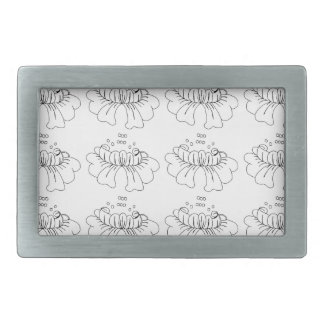 Bubble flower black and white belt buckle