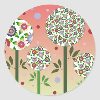 Bubble flower sisters classic round sticker