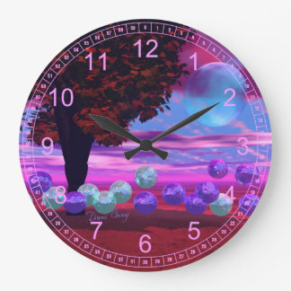 Bubble Garden - Abstract Rose and Azure Wisdom Wall Clocks