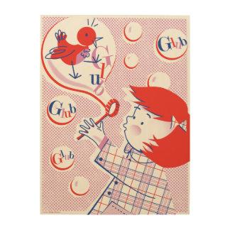 Bubble, Girl! Retro Wood Print 18x24