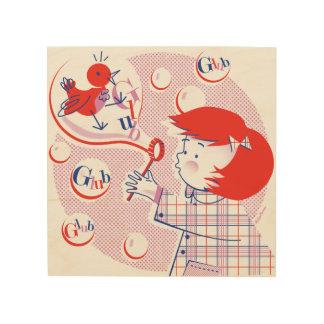 Bubble, Girl! Retro Wood Print 8x8