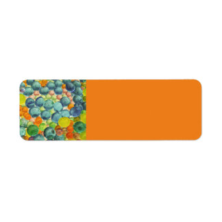 BUBBLE GLASS MARBLES ORANGE BLUES YELLOWS CIRCLES RETURN ADDRESS LABEL