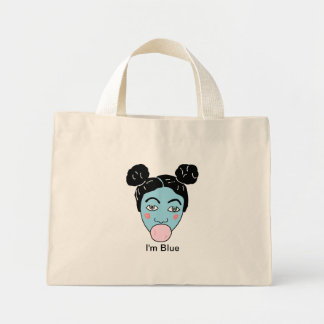 bubble gum baby blue, I'm Blue Mini Tote Bag