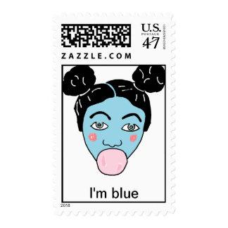 bubble gum baby blue, I'm blue Postage