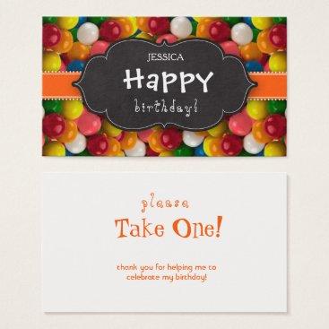 Halloween Themed Bubble Gum Bold Gumball Orange Strip Chalkboard Business Card