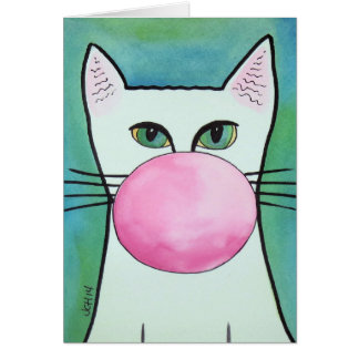 Bubble Gum Cat in Blue Greeting Card