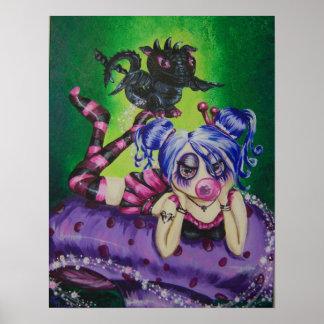 Bubble Gum Fairy and Dragon Fantasy Art Print