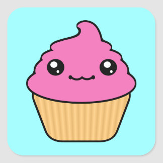 Bubble Gum Frosting Kawaii Cupcake Square Sticker