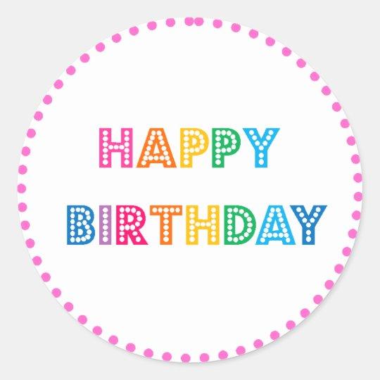 Bubble Gum Happy Birthday Party Classic Round Sticker