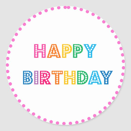 Bubble Gum Happy Birthday Party Classic Round Sticker