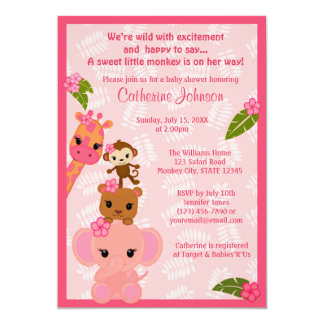 Bubble Gum Jungle Baby Shower Invitations GIRL