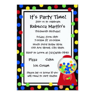 Bubble Gum Party 5x7 Paper Invitation Card