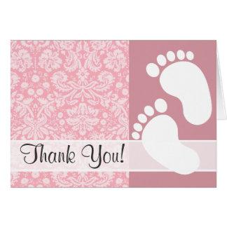 Bubble Gum Pink Damask Pattern Card