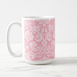 Bubble Gum Pink Damask Pattern Classic White Coffee Mug