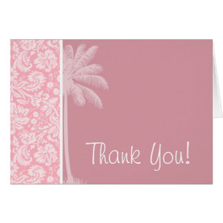 Bubble Gum Pink Damask Pattern; Palm Card