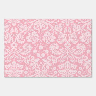 Bubble Gum Pink Damask Pattern Lawn Sign