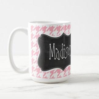 Bubble Gum Pink Houndstooth; Chalkboard Coffee Mug
