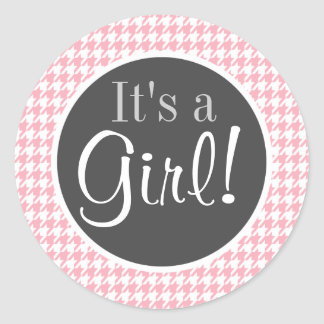 Bubble Gum Pink Houndstooth Classic Round Sticker